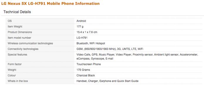 Amazon divulga detalhes das configurações do Nexus 5X antes do lançamento oficial (Foto: Reprodução/Amazon)