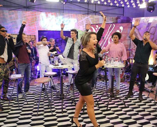 Todos os convidados cantam A com Brown (Foto: Isabella Pinheiro/ GShow)