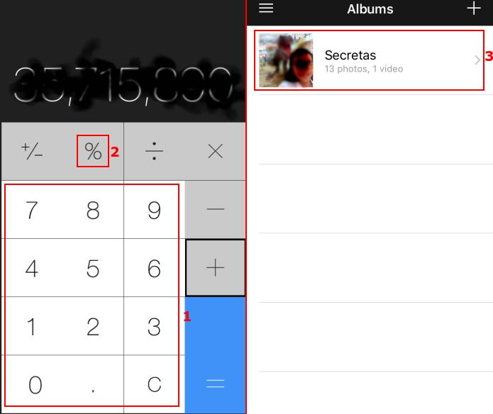Acessando as fotos escondidas atrás da calculadora (Foto: Reprodução/Edivaldo Brito)