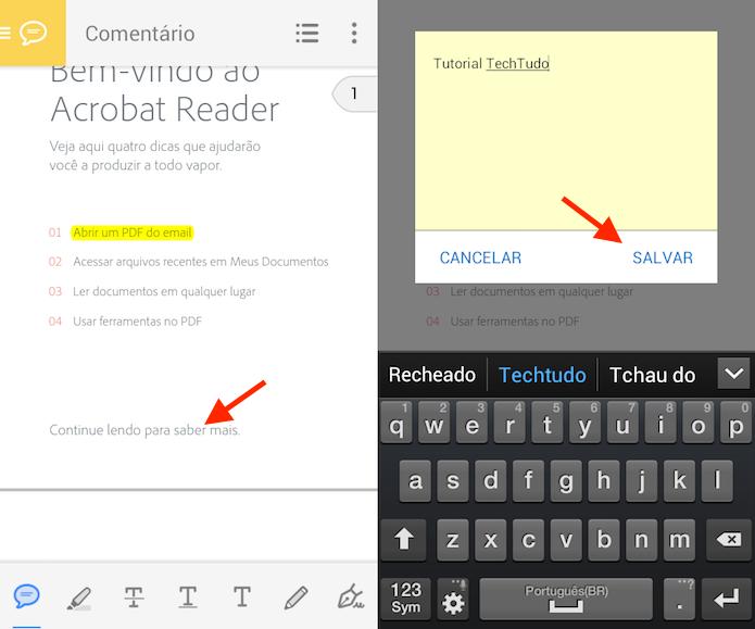 Ação para adicionar lembretes em documentos no Adobe Reader (Foto: Reprodução/Marvin Costa)