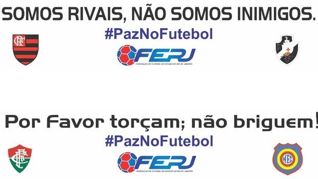 BLOG: Clássico carioca terá ações pela paz: panfletos, faixa e troca de bandeiras