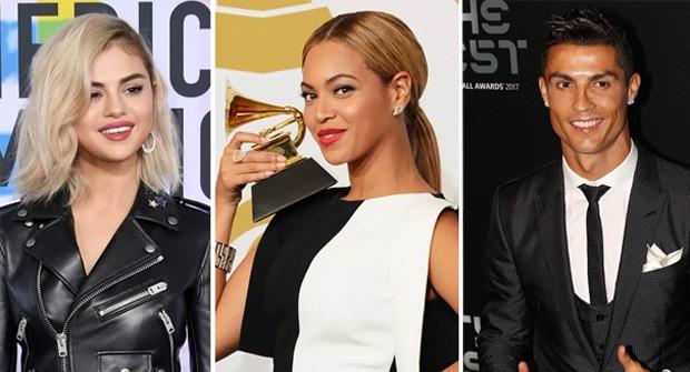 Selena Gomez, Beyoncé e Cristiano Ronaldo (Foto: Getty Images)