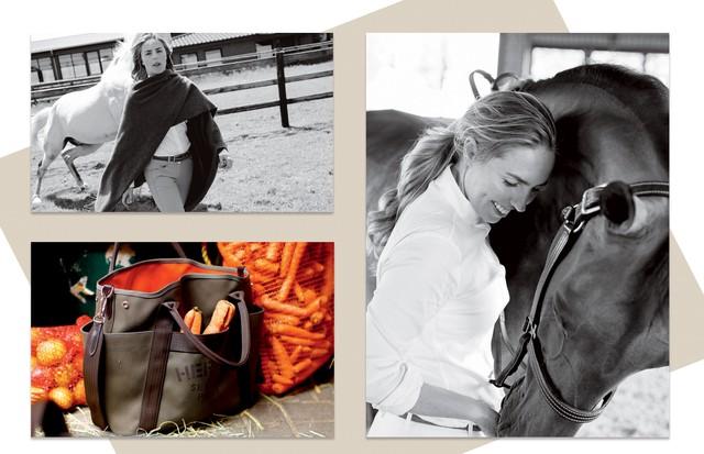 Ao lado da égua Vanilla, Karina veste manta de lã e cashmere (R$ 5.900). No canto inferior esquerdo, bolsa para acessórios de equitação (R$ 8.650).  (Foto: Peter Rigaud)