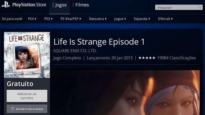 Encontre a página de Life is Strange no PlayStation 4 para baixá-lo (Foto: Reprodução/Rafael Monteiro)
