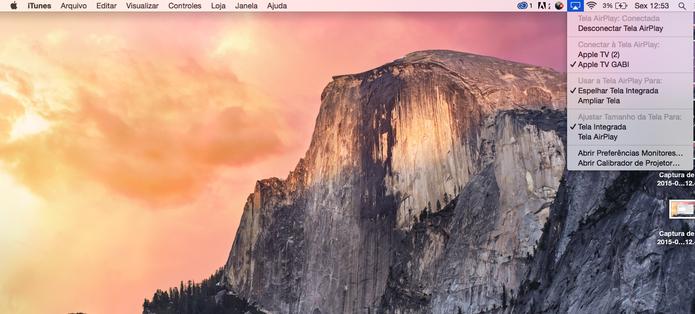 Você também pode selecionar seu Apple TV pelo ícone que aparece em cima (Reprodução/ Gabriella Fiszman)