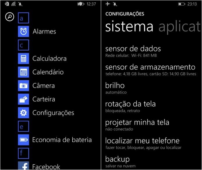 Configurações do Windows Phone 8.1 (Foto: Reprodução/Helito Bijora)