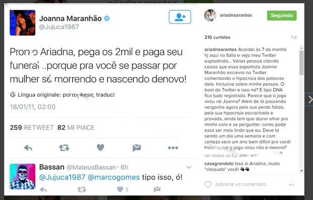 Ariadna desabafa em rede social (Foto: Reprodução/Instagram)