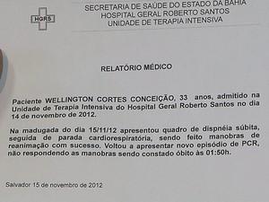Atestado de óbito de Wellington (Foto: Imagem/TV Bahia)