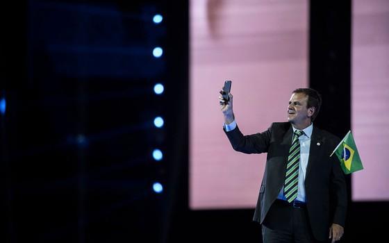 Eduardo Paes, prefeito do Rio de Janeiro. O político comemorou os resultados da Olimpíada para a cidade (Foto: Getty Images)