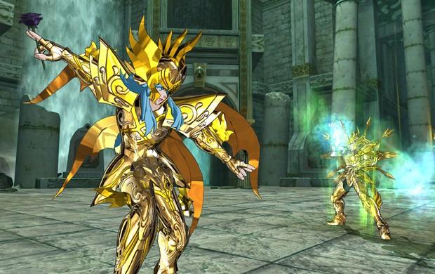 Dohko enfrenta Afrodite em cena do game 'Os Cavaleiros do Zodíaco: Alma dos Soldados' (Foto: Divulgação/Namco Bandai)