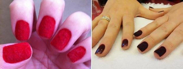 Indiara optou por unhas vermelhas, à esquerda; à direita, a diferença das unhas 'normais' e das com aplicação em pelúcia (Foto: Montagem sobre fotos Arquivo Pessoal e Jessica Mello/G1)