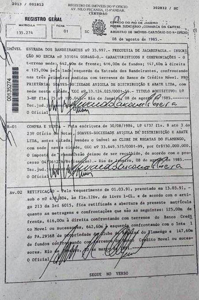 Especial Ninho do Urubu - RGI dos terrenos (Foto: Divulgação)