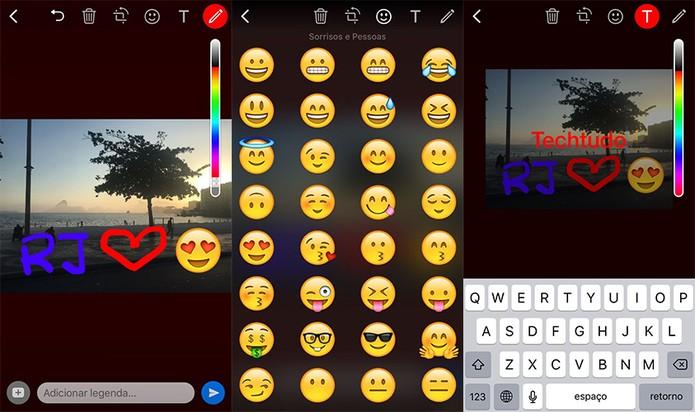 Desenhos, emojis e frases são permitidos antes do envio das fotos (Foto: Reprodução/Karen Malek) (Foto: Desenhos, emojis e frases são permitidos antes do envio das fotos (Foto: Reprodução/Karen Malek))