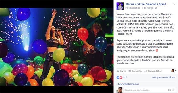 Fãs de Marina and the Diamonds querem levar balões coloridos aos shows da cantora no Brasil (Foto: Reprodução / Facebook)