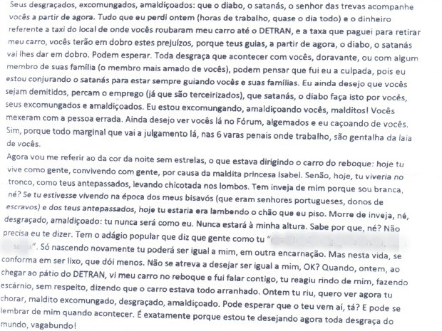 """Carta se refere a servidor negro como """"cor da noite sem estrelas"""" (Foto: Reprodução)"""