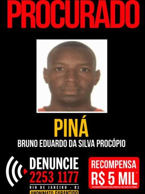 Cartaz do Disque Denúncia mostra recompensa de R$ 5 mil por Piná (Foto: Reprodução)