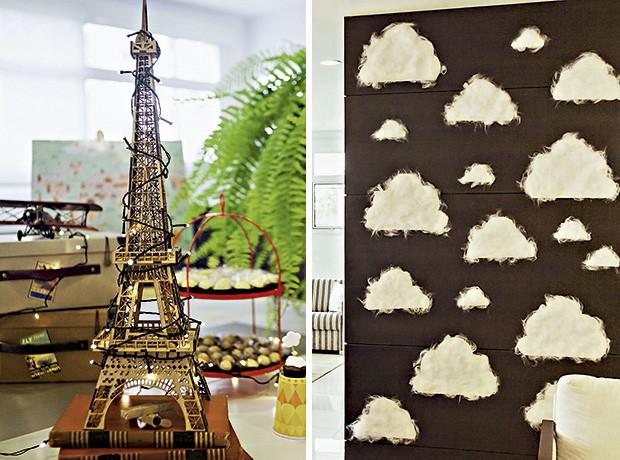 A torre Eiffel de madeira ganhou iluminação especial. À dir., nuvens feitas de papel cartão e plumante transformaram a sisuda parede do salão de festas em leveza pura (Foto: Sandra Pagano/Editora Globo)