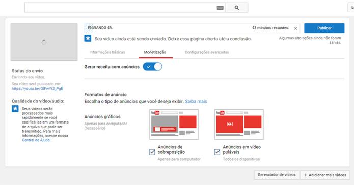 Usuários podem exibir publicidade para ganhar dinheiro com seus vídeos do YouTube (Foto: Reprodução/João Kurtz)