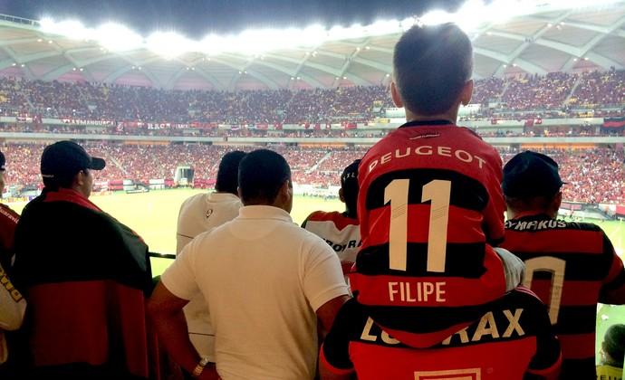 Torcida do Flamengo na Arena amazônia (Foto: Isabella Pina)