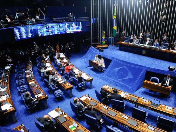 25/08 - Vista geral do plenário do Senado, em Brasília, durante sessão do julgamento final do processo de impeachment da presidente afastada Dilma Rousseff (Foto: Marcos Oliveira/Agência Senado)