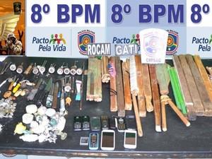 Material apreendido no Presídio de Salgueiro (Foto: Divulgação/ 8º BPM)