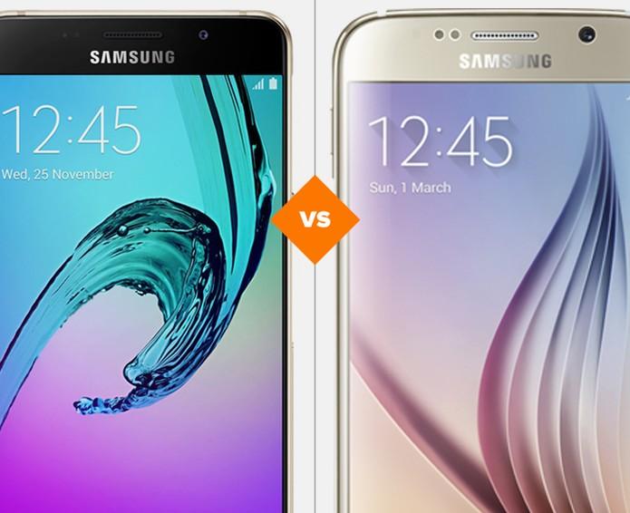 Galaxy A5 (2016) ou Galaxy S6: telefones da Samsung se enfrentam (Foto: Arte/TechTudo)