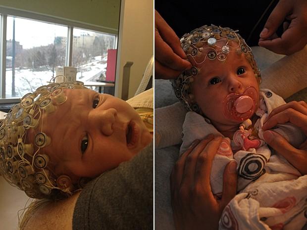 Bebês de 8 a 12 dias de vida foram analisados por eletroencefalogramas (Foto: Universite de Montreal)