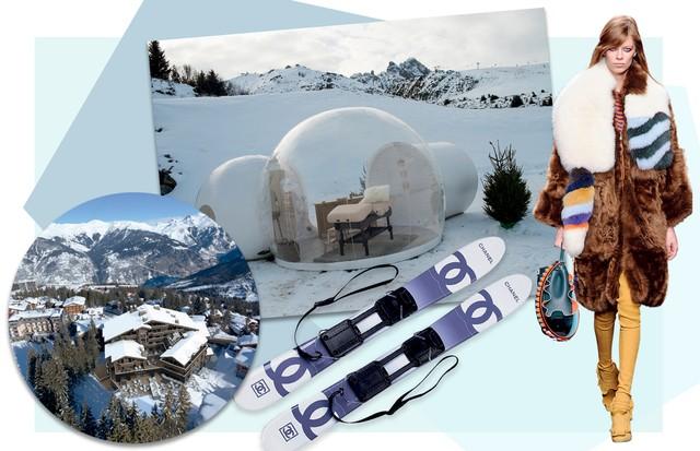 À esquerda, o recém-inaugurado hotel Les Neiges. Ao lado, O spa-bolha da marca francesa Exertier, look do inverno 2016/17 da Fendi e esquis da Chanel (Foto: Divulgação e Arthur Elgort)