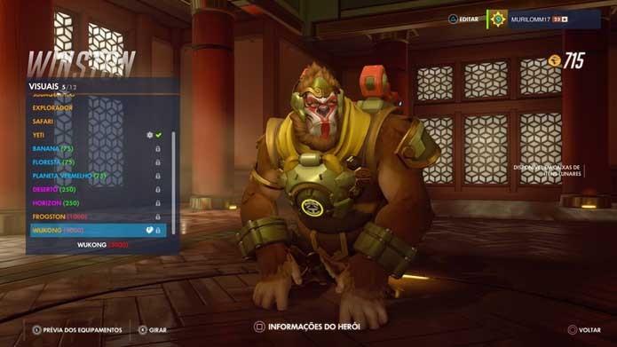 Winston tem uma das skins mais legais do evento de Overwatch (Foto: Reprodução/Murilo Molina)