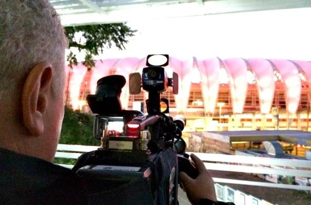 Estúdio de vidro da RBS TV para a Copa do Mundo (Foto: Tiago Cirqueira/RBS TV)