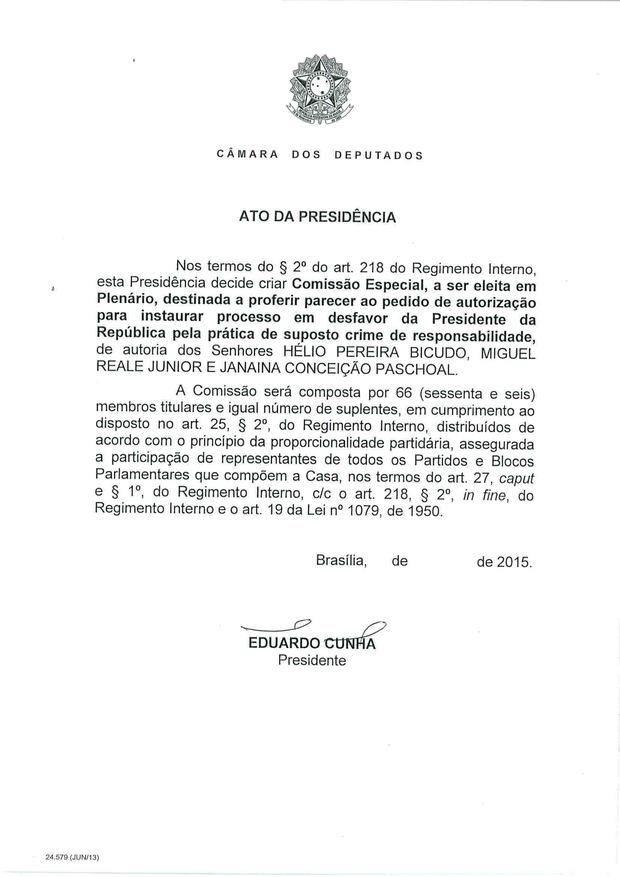 22 - Leia íntegra da decisão de Cunha que abriu processo de impeachment (Foto: Reprodução)