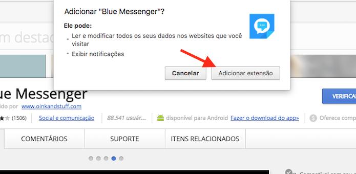 Opção para baixar e instalar a extensão Blue Messenger no Google Chrome (Foto: Reprodução/Marvin Costa)