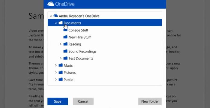 Office Online ganhou função para salvar arquivos no OneDrive (Divulgação/Office)