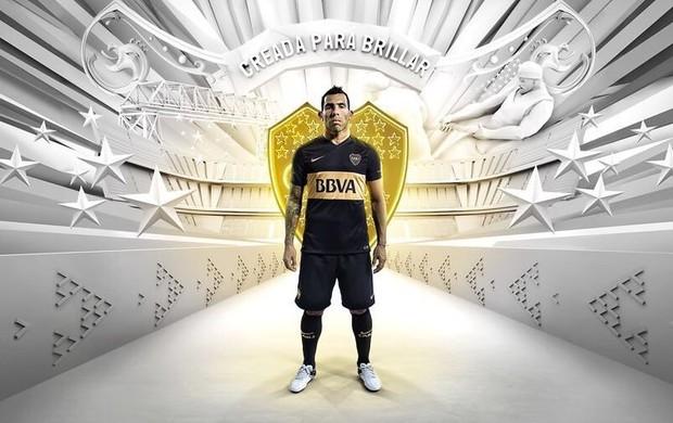 BLOG: Preta e dourada: Tevez apresenta nova terceira camisa do Boca