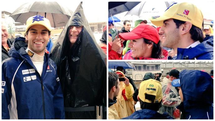 Felipe Nasr aproveita pausa provocada pela chuva para tirar fotos com os fãs (Foto: Divulgação)