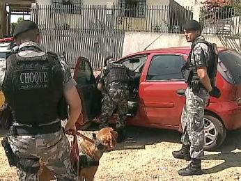 Polícia utilizou cães para tentar localizar os três homens que fizeram o assalto (Foto: Reprodução/RPC TV)