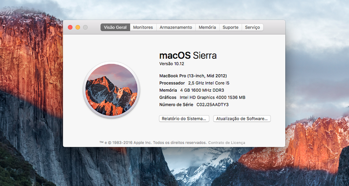 Saiba se o seu computador é compatível com o macOS Sierra (Foto: Reprodução/Felipe Vinha)