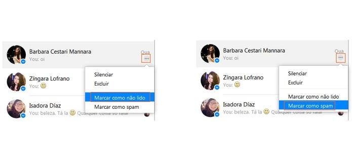 Marcar mensagem como não lida ou Spam (Foto: Reprodução/Barbara Mannara)