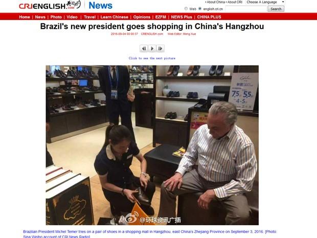 Temer compra sapato durante viagem à China (Foto  Reprodução China Radio  International) 44f03b8b1ca5