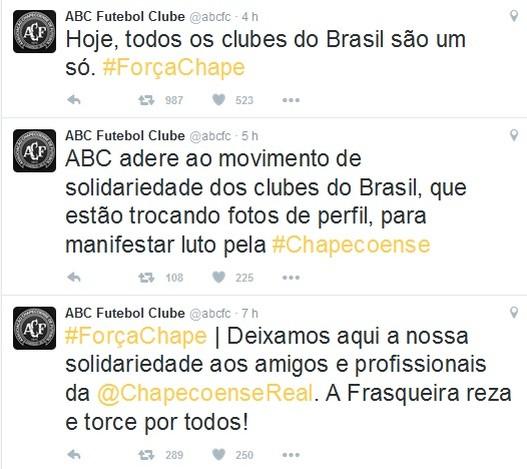 ABC FC - Solidariedade à Chapecoense (Foto: Divulgação)