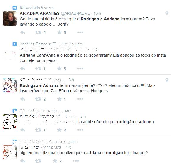 Fãs comentam sobre possibilidade de fim do namoro de Rodrigão e Adriana (Foto: Reprodução/Twitter)