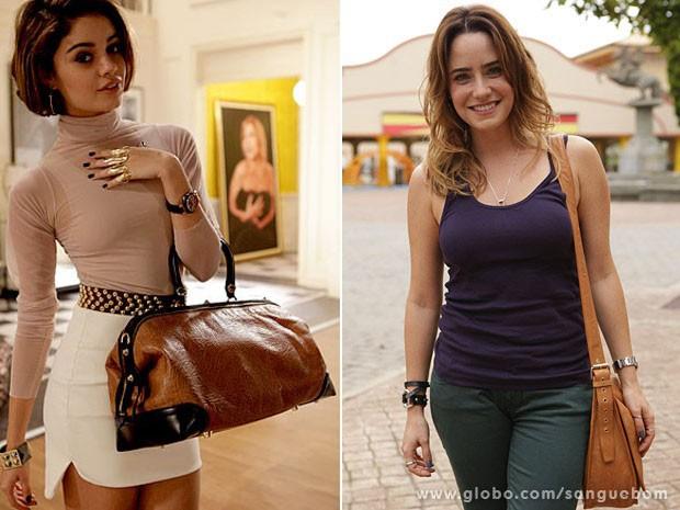 A bolsa básica de Malu e contrastou com o modelo 'maxi' de Amora (Foto: Sangue Bom / TV Globo)