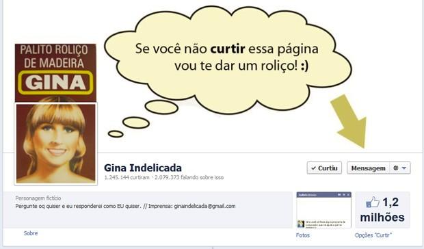 """Topo da página """"Gina Indelicada"""", que já ultrapassa o primeiro milhão de fãs (Foto: Reprodução)"""