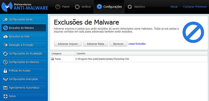 Malwarebytes permite criar listas de apps que podem ser desconsiderados nas varreduras (Foto: Reprodução/Paulo Alves)