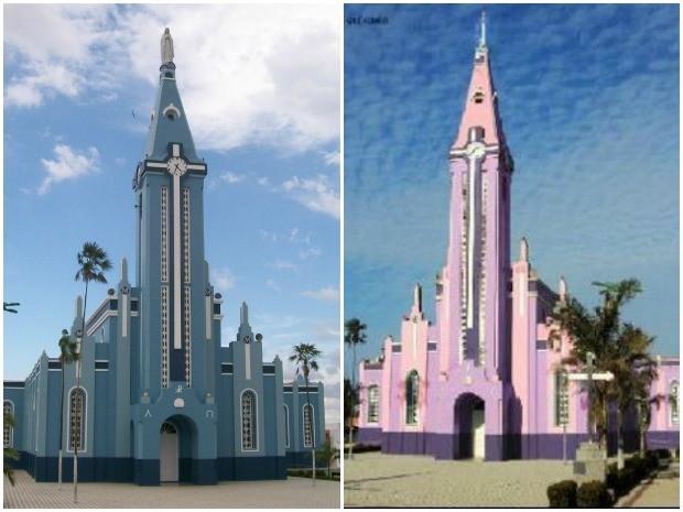 Padre pinta igreja de rosa e lilás no interior do Ceará e gera polêmica (Foto: Prefeitura de Bela Cruz/Divulgação)