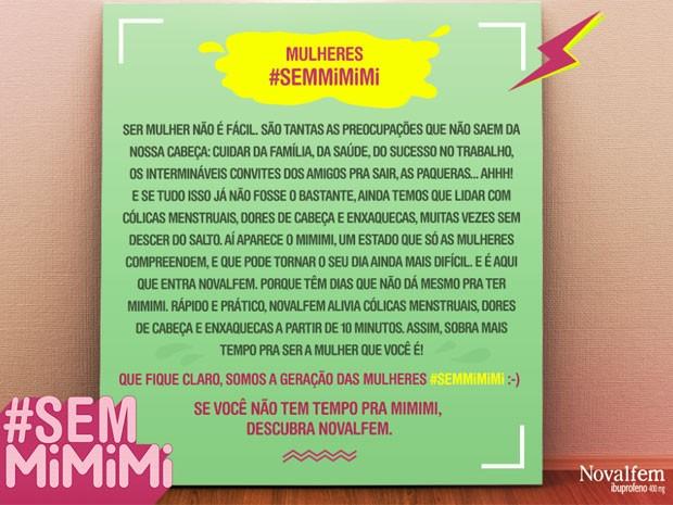 Post da campanha #semMiMiMi publicada pela Novalfem no Facebook (Foto: Reprodução/Novalfem/Facebook)