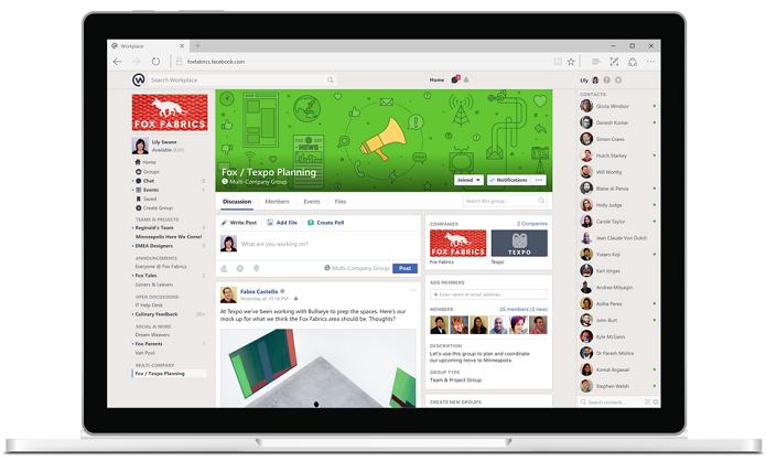Workplace traz layout e recursos semelhantes ao Facebook (Foto: Divulgação/Facebook)