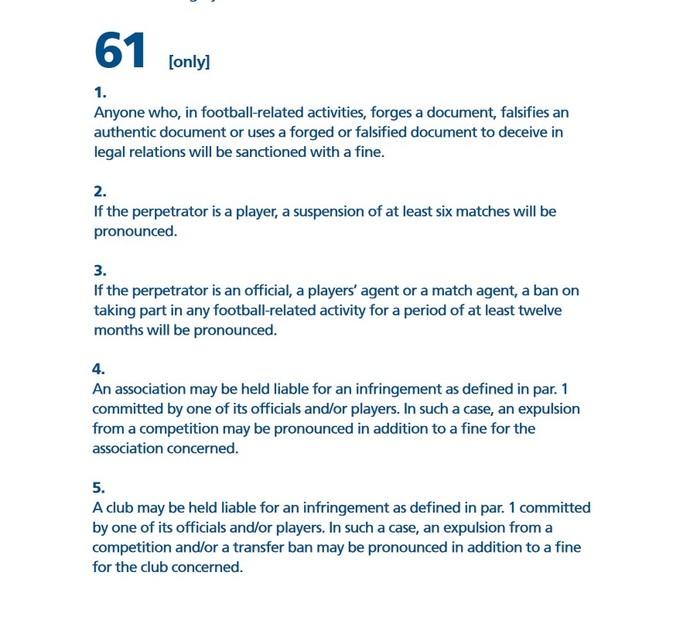 Artigo 61 do Código Disciplinar da Fifa (Foto: Reprodução)