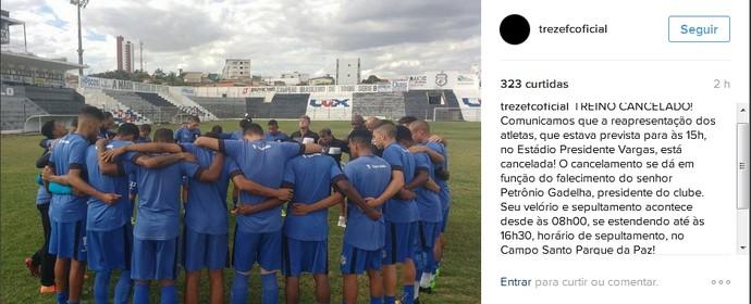 Petrônio Gadelha, Treze, luto (Foto: Reprodução / Instagram)