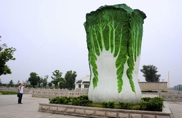 Escultura gigante de repolho vira atração em cidade chinesa